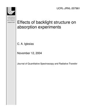 Primary view of object titled 'Effects of backlight structure on absorption experiments'.