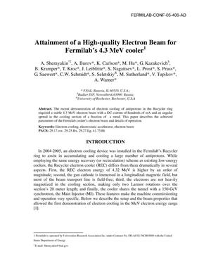 Primary view of object titled 'Attainment of a high-quality electron beam for Fermilab's 4.3 MeV cooler'.