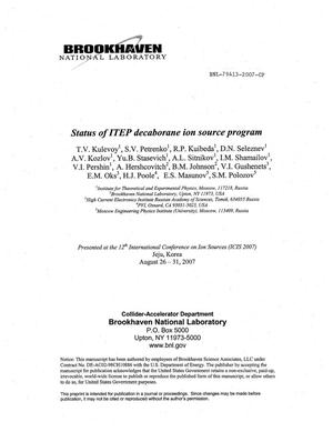 Primary view of object titled 'STATUS OF ITEP DECABORANE ION SOURCE PROGRAM.'.