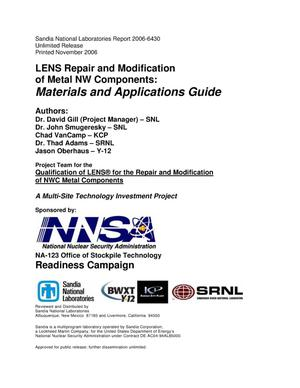 Primary view of object titled 'LENS repair and modification of metal NW components:materials and applications guide.'.