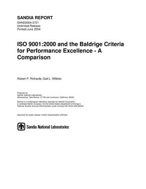 Primary view of object titled 'ISO 9001 : 2000 and the Baldrige criteria for performance excellence - a comparison.'.