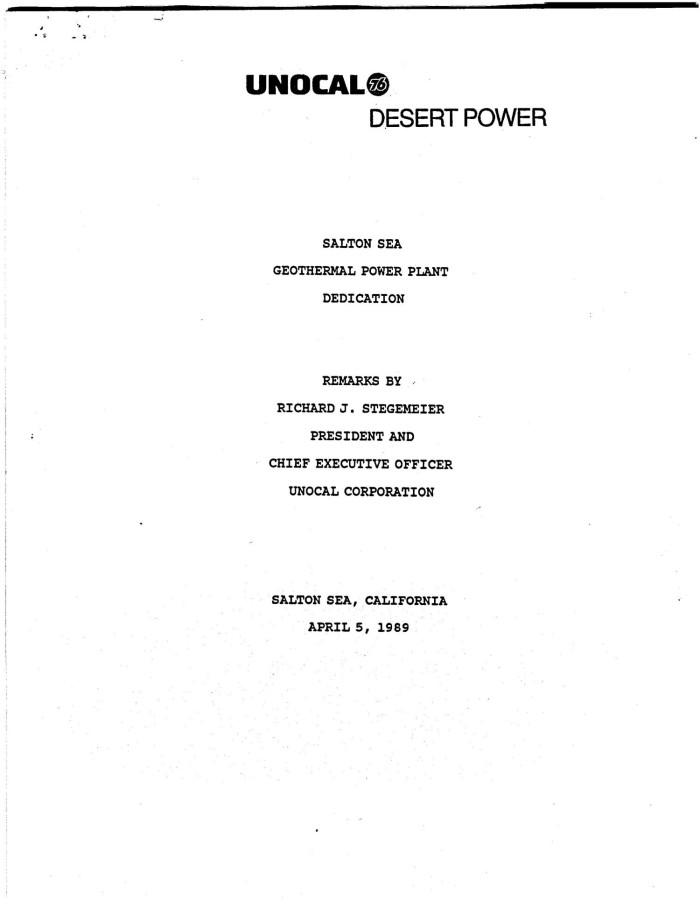 Salton Sea Geothermal Power Plant Dedication - Remarks by Richard J