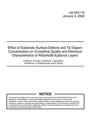 Primary view of object titled 'Effect of Substrate Surface Defects and Te Dopant Concentration on Crystalline Quality and Electrical Characteristics of AlGaAsSb Epitaxial Layers'.