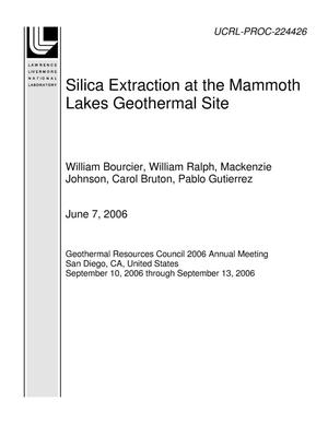 Primary view of object titled 'Silica Extraction at the Mammoth Lakes Geothermal Site'.