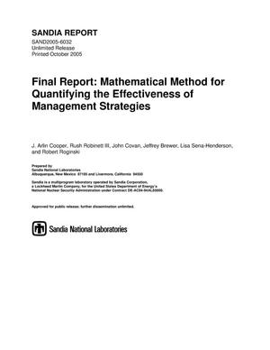 Primary view of object titled 'Final report: mathematical method for quantifying the effectiveness of management strategies.'.