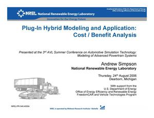 Primary view of object titled 'Plug-in Hybrid Modeling and Application: Cost/Benefit Analysis (Presentation)'.