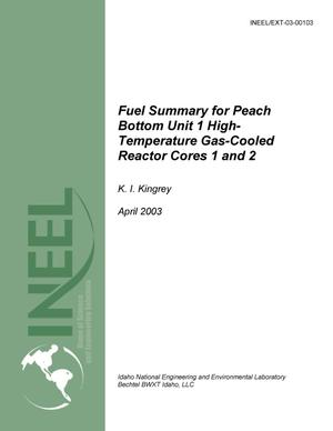 Primary view of object titled 'Fuel Summary for Peach Bottom Unit 1 High-Temperature Gas-Cooled Reactor Cores 1 and 2'.
