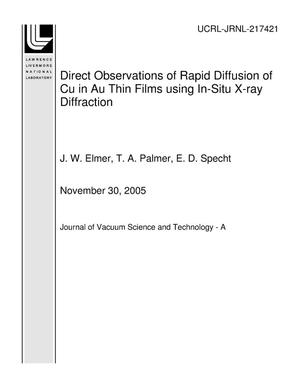 Primary view of object titled 'Direct Observations of Rapid Diffusion of Cu in Au Thin Films using In-Situ X-ray Diffraction'.