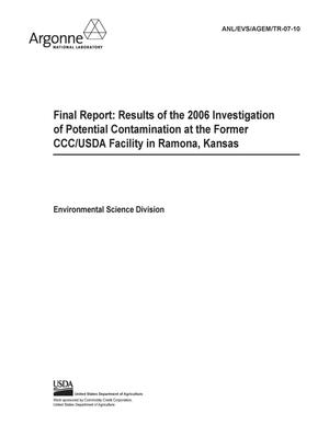 Primary view of object titled 'Final report : results of the 2006 investigation of potential contamination at the former CCC/USDA facility in Ramona, Kansas.'.