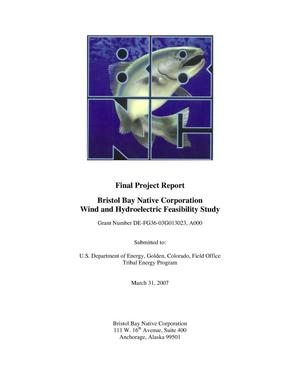 Primary view of object titled 'Final Project Report, Bristol Bay Native Corporation Wind and Hydroelectric Feasibility Study'.