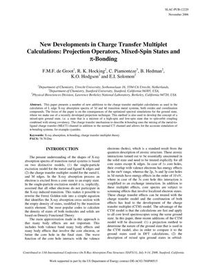 Primary view of object titled 'New Developments in Charge Transfer Multiplet Calculations: Projection Operations, Mixed-Spin States and pi-Bonding'.