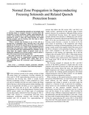 Primary view of object titled 'Normal zone propagation in superconducting focusing solenoids and related quench protection issues'.