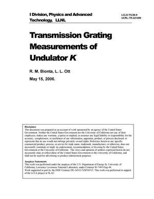 Primary view of object titled 'Transmission Grating Measurements of Undulator K'.