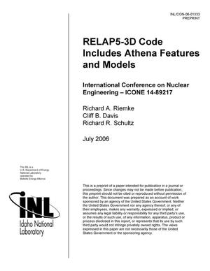 Primary view of object titled 'RELAP5-3D Code Includes Athena Features and Models'.
