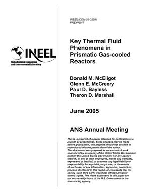 Primary view of object titled 'Key Thermal Fluid Phenomena In Prismatic Gas-Cooled Reactors'.