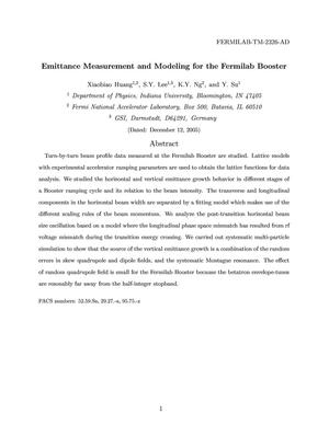 Primary view of object titled 'Emittance measurements and modeling of the Fermilab booster'.