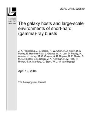 Primary view of object titled 'The galaxy hosts and large-scale environments of short-hard (gamma)-ray bursts'.