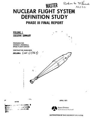 Primary view of object titled 'Nuclear flight system definition study. Phase III. Final report. Volume I. Executive summary'.