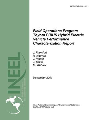 Primary view of object titled 'Field Operations Program, Toyota PRIUS Hybrid Electric Vehicle Performance Characterization Report'.
