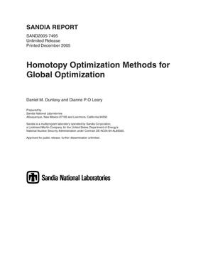 Primary view of object titled 'Homotopy optimization methods for global optimization.'.