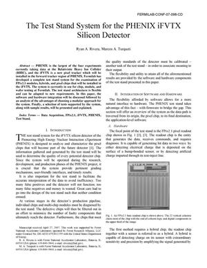 Primary view of object titled 'The test stand system for the PHENIX iFVTX silicon detector'.