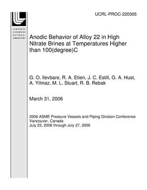 Primary view of object titled 'Anodic Behavior of Alloy 22 in High Nitrate Brines at Temperatures Higher than 100(degree)C'.