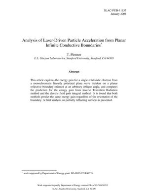 Primary view of object titled 'Analysis of Laser-Driven Particle Acceleration fromPlanar Infinite Conductive Boundaries'.