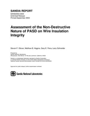 Primary view of object titled 'Assessment of the non-destructive nature of PASD on wire insulation integrity.'.