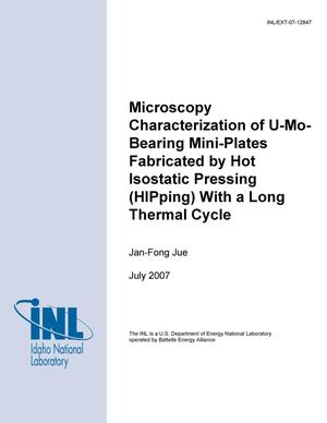 Primary view of object titled 'MICROSCOPY CHARACTERIZATION OF U-MO BEARING MINI-PLATES FABRICATED BY HOT ISOSTATIC PRESSING (HIPPING) WITH A LONG THERMAL CYCLE'.