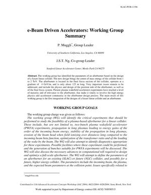 Primary view of object titled 'E-Beam Driven Accelerators: Working Group Summary'.