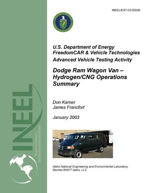 Primary view of object titled 'Advanced Vehicle Testing Activity: Dodge Ram Wagon Van -- Hydrogen/CNG Operations Summary'.