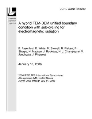 Primary view of object titled 'A hybrid FEM-BEM unified boundary condition with sub-cycling for electromagnetic radiation'.