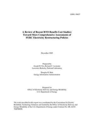 Primary view of object titled 'A Review of Recent RTO Benefit-Cost Studies: Toward MoreComprehensive Assessments of FERC Electricity RestructuringPolicies'.