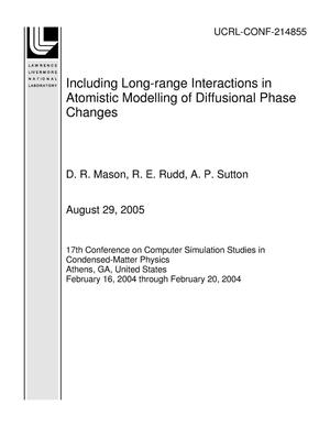 Primary view of object titled 'Including Long-range Interactions in Atomistic Modelling of Diffusional Phase Changes'.