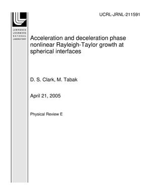 Primary view of object titled 'Acceleration and deceleration phase nonlinear Rayleigh-Taylor growth at spherical interfaces'.