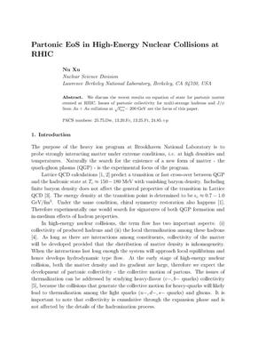Primary view of object titled 'Partonic Equations of State in High-Energy Nuclear Collisions atRHIC'.