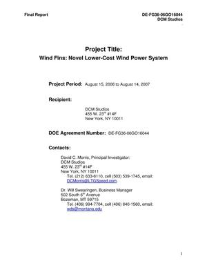 Primary view of object titled 'Wind Fins: Novel Lower-Cost Wind Power System'.