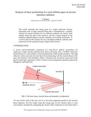 Primary view of object titled 'Analysis of Laser Acceleration in a Semi-infinite Space as Inverse Transition Radiation'.