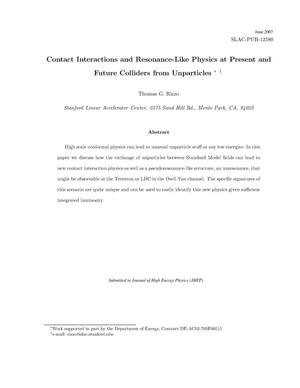 Primary view of object titled 'Contact Interaction and Resonant-Like Physics at Present and Future Colliders from Unparticles'.