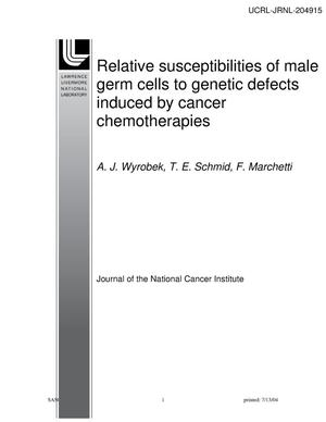 Primary view of object titled 'Relative susceptibilities of male germ cells to genetic defects induced by cancer chemotherapies'.