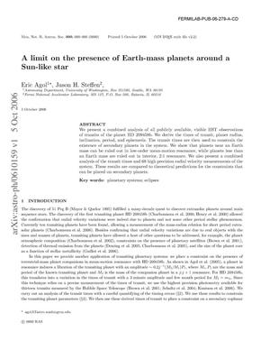 Primary view of object titled 'A limit on the presence of Earth-mass planets around a Sun-like star'.