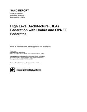 Primary view of object titled 'High Level Architecture (HLA) federation with Umbra and OPNET federates.'.
