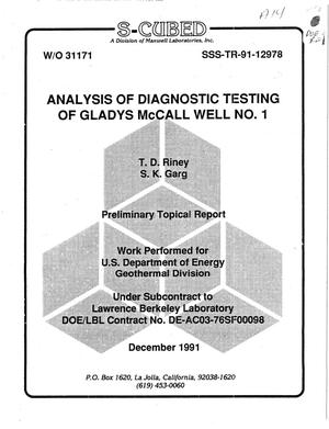 Primary view of object titled 'Analysis of diagnostic testing of Gladys McCall Well No. 1'.