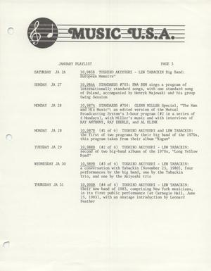 Primary view of object titled 'Music USA program lists, 1985'.