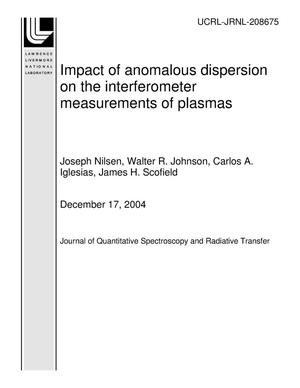Primary view of object titled 'Impact of anomalous dispersion on the interferometer measurements of plasmas'.