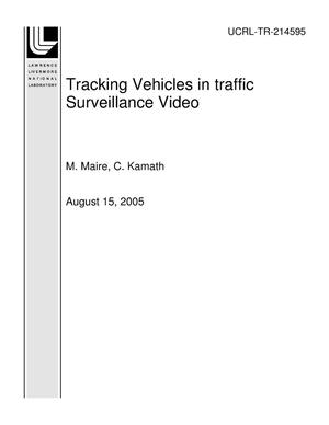 Primary view of object titled 'Tracking Vehicles in traffic Surveillance Video'.