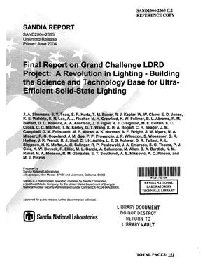 Primary view of object titled 'Final report on grand challenge LDRD project : a revolution in lighting : building the science and technology base for ultra-efficient solid-state lighting.'.