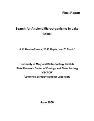 Primary view of object titled 'Search for ancient microorganisms in Lake Baikal'.