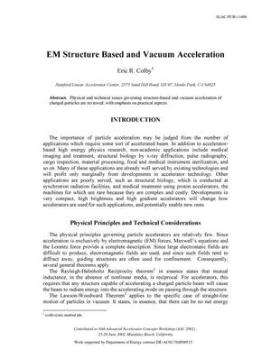 Primary view of object titled 'EM Structure Based and Vacuum Acceleration'.