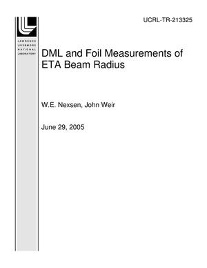 Primary view of object titled 'DML and Foil Measurements of ETA Beam Radius'.